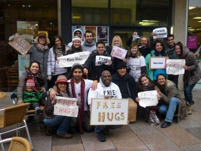 Cardiff Free hugs yoga happy frog family