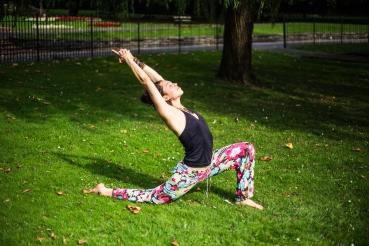 Anjaneyasana - Crescent Moon Yoga asana pose sun park love