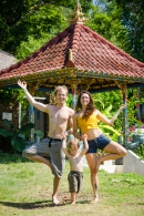 Family yoga Bali frog UK