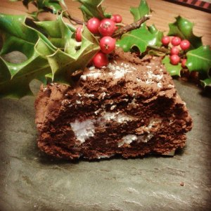 Vegan Gluten free sugar free healthy yule log Christmas food